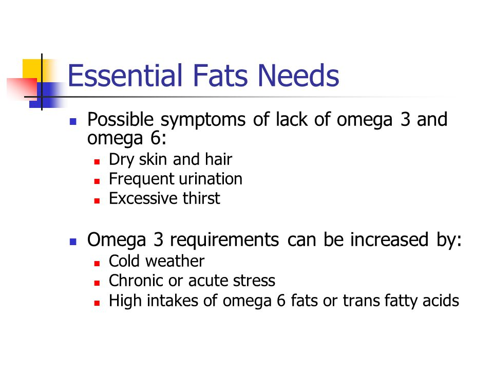 Essential Fats Needs Possible symptoms of lack of omega 3 and omega 6: