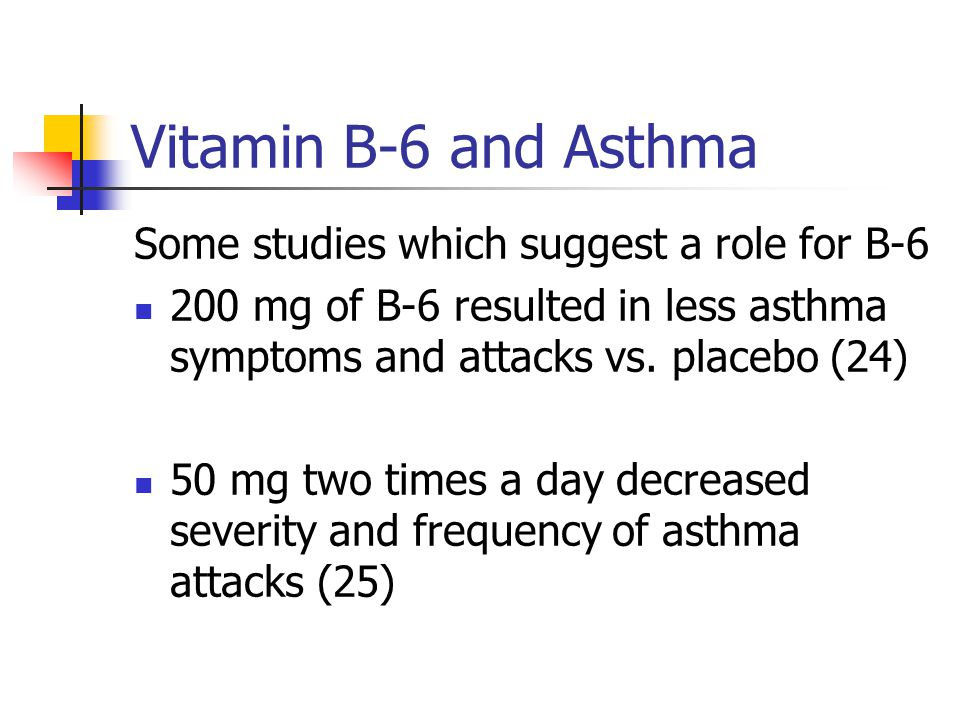 Vitamin B-6 and Asthma Some studies which suggest a role for B-6