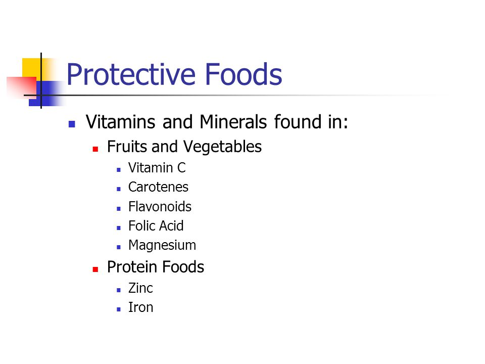 Protective Foods Vitamins and Minerals found in: Fruits and Vegetables