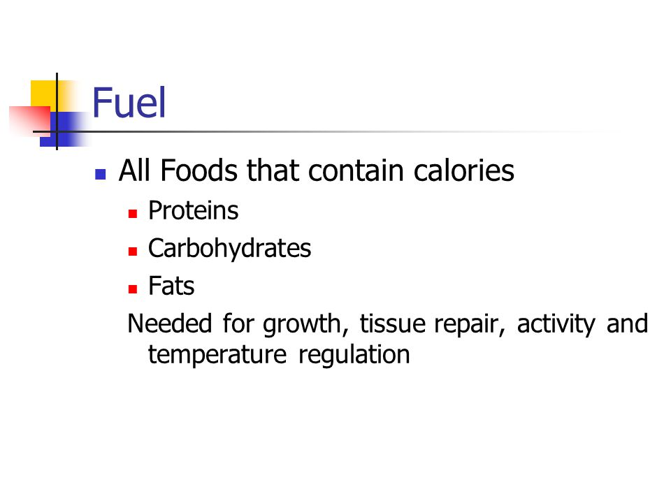 Fuel All Foods that contain calories Proteins Carbohydrates Fats