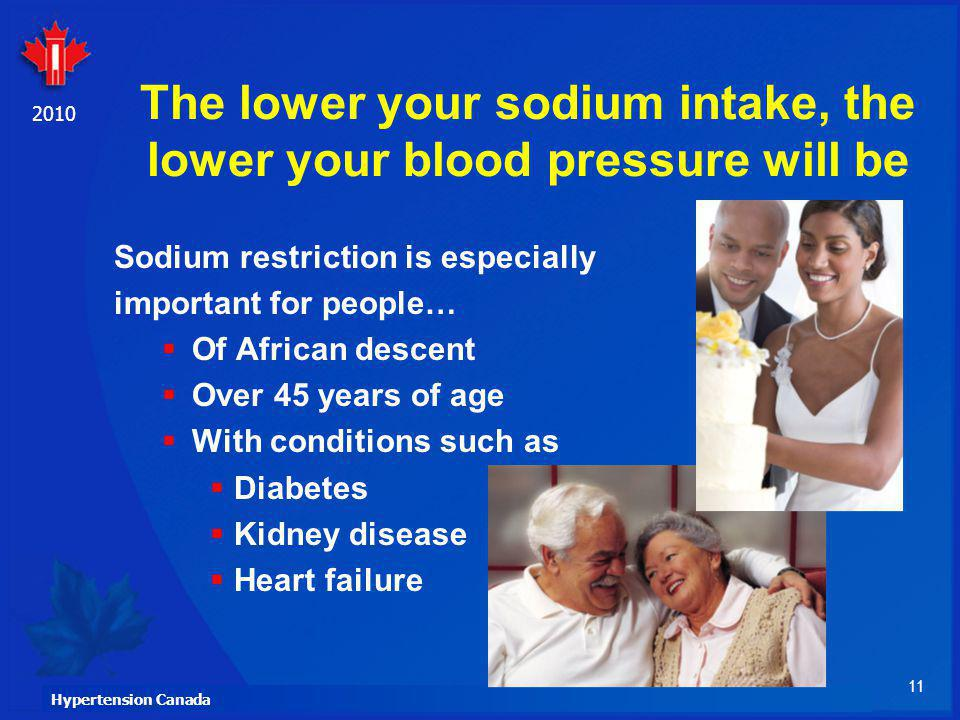 The lower your sodium intake, the lower your blood pressure will be