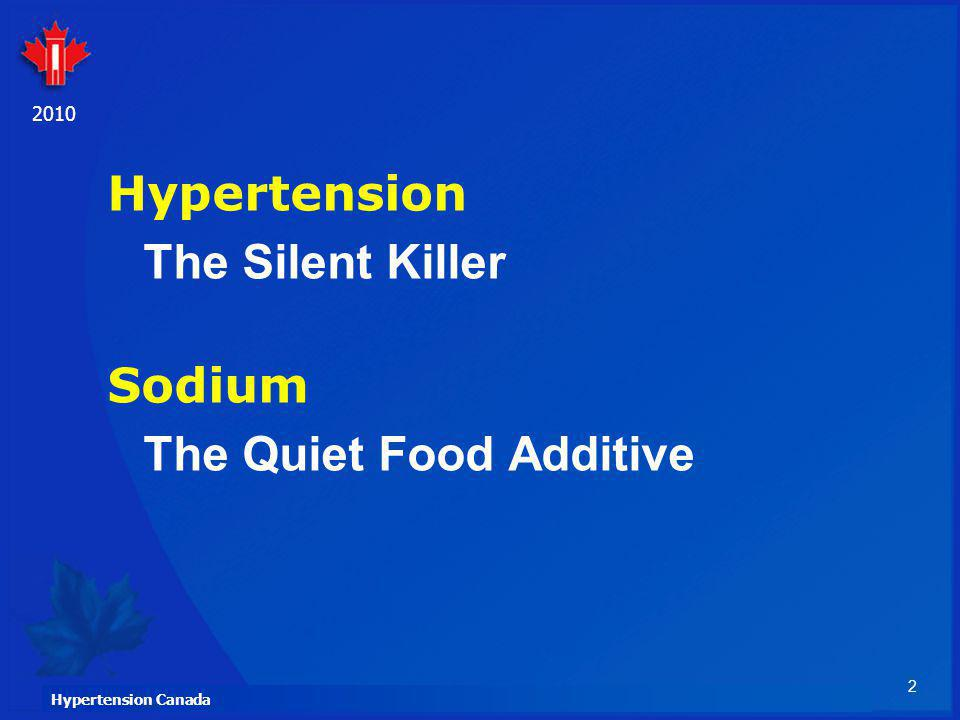 Hypertension The Silent Killer Sodium The Quiet Food Additive