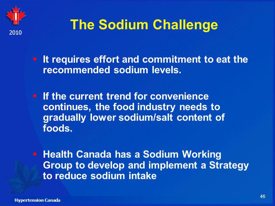The Sodium Challenge It requires effort and commitment to eat the recommended sodium levels.