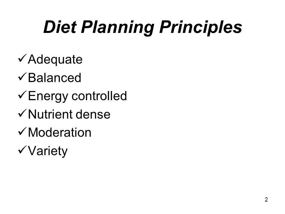 what are the diet planning principles