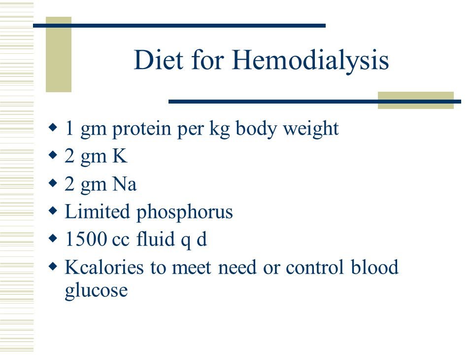 Diet for Hemodialysis 1 gm protein per kg body weight 2 gm K 2 gm Na