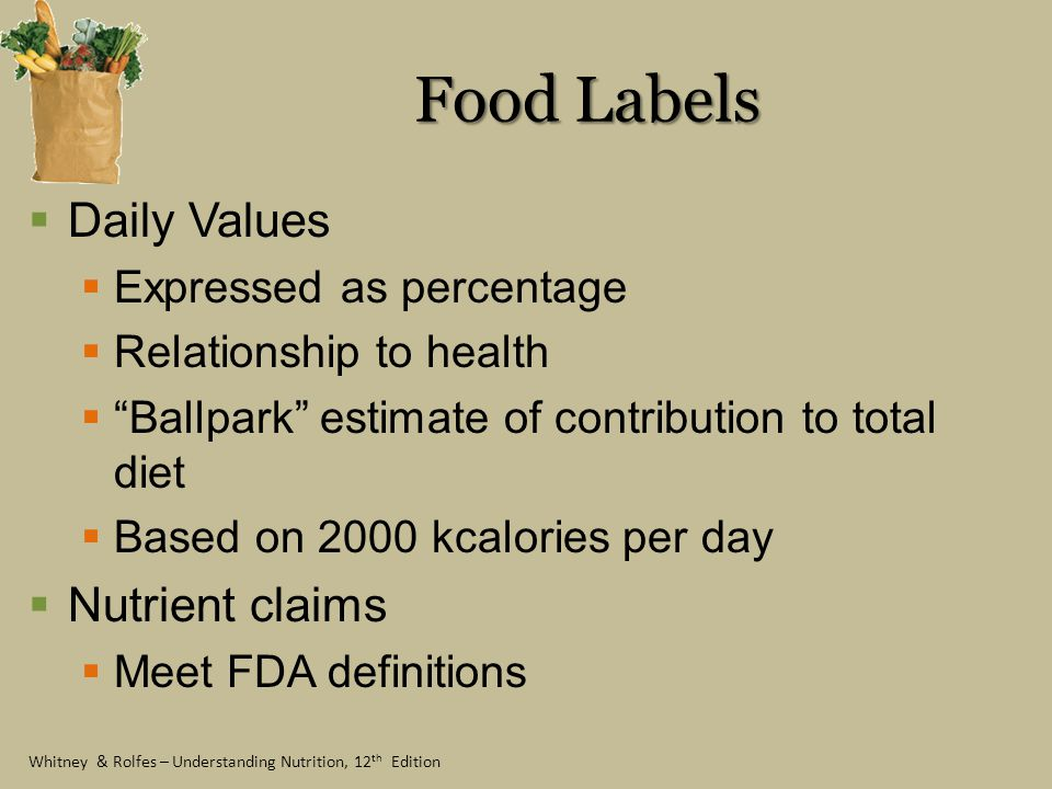 Food Labels Daily Values Nutrient claims Expressed as percentage