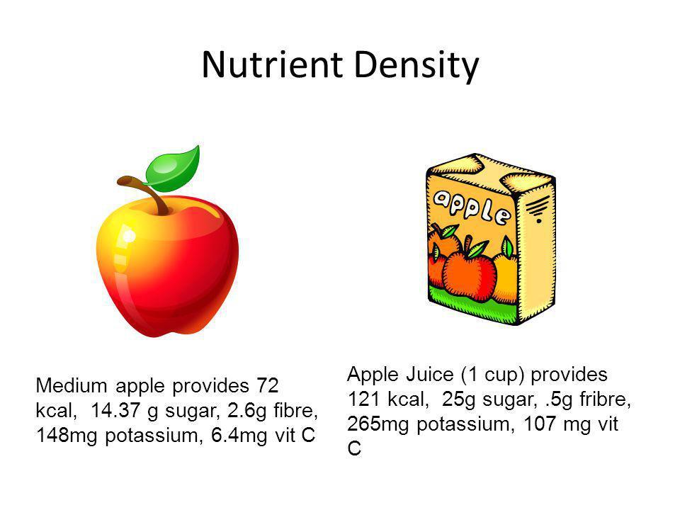 Nutrient Density CFG 1 medium apple = 1 serving. 1 cup = 2 servings.