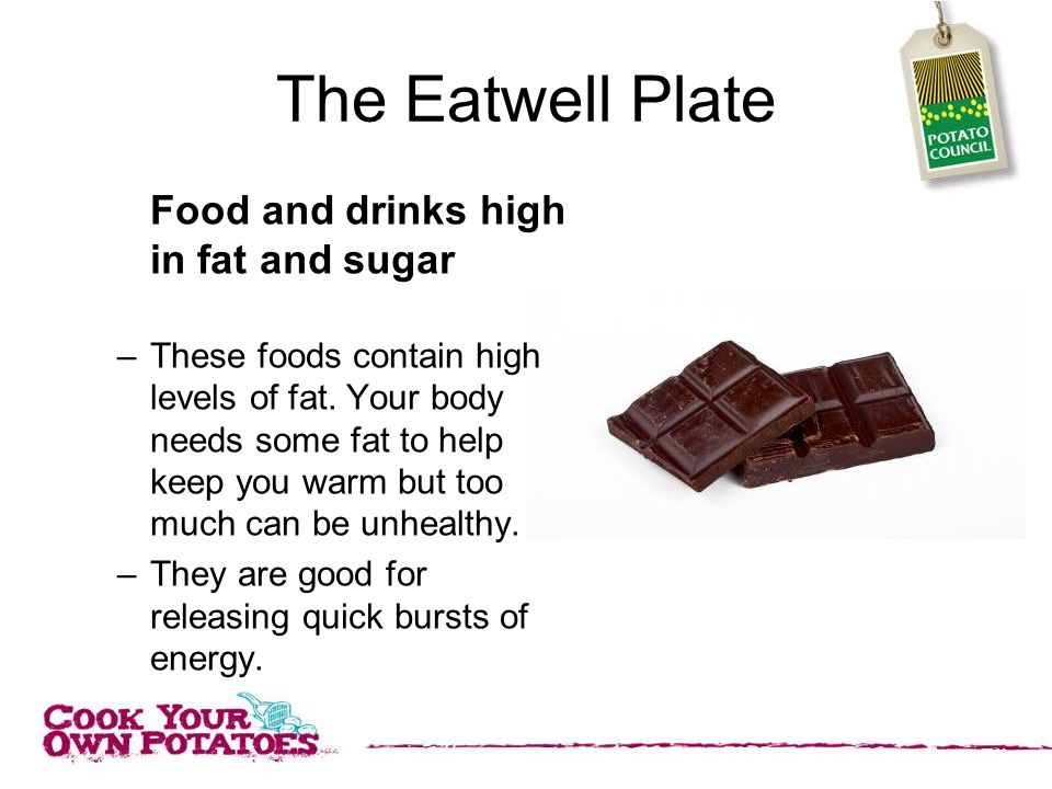 The Eatwell Plate Food and drinks high in fat and sugar