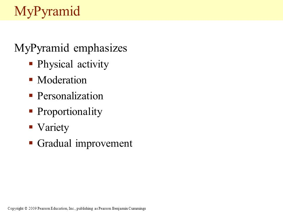MyPyramid MyPyramid emphasizes Physical activity Moderation