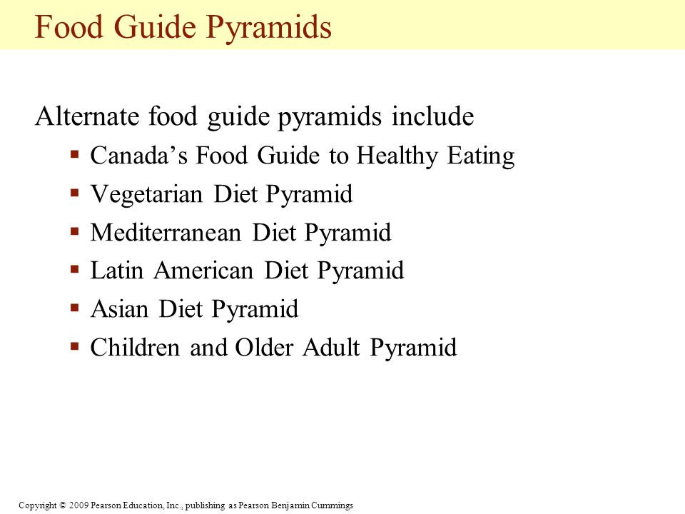 Food Guide Pyramids Alternate food guide pyramids include