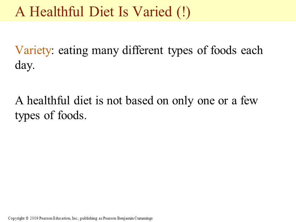 A Healthful Diet Is Varied (!)
