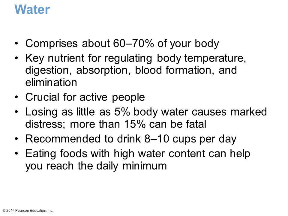 Water Comprises about 60–70% of your body