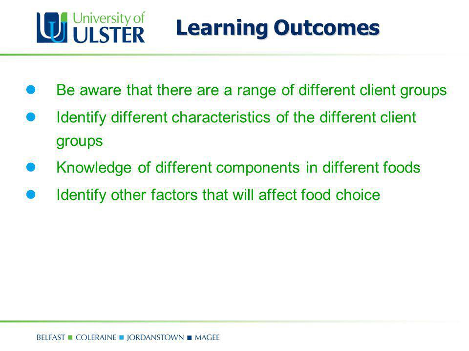Learning Outcomes Be aware that there are a range of different client groups. Identify different characteristics of the different client groups.