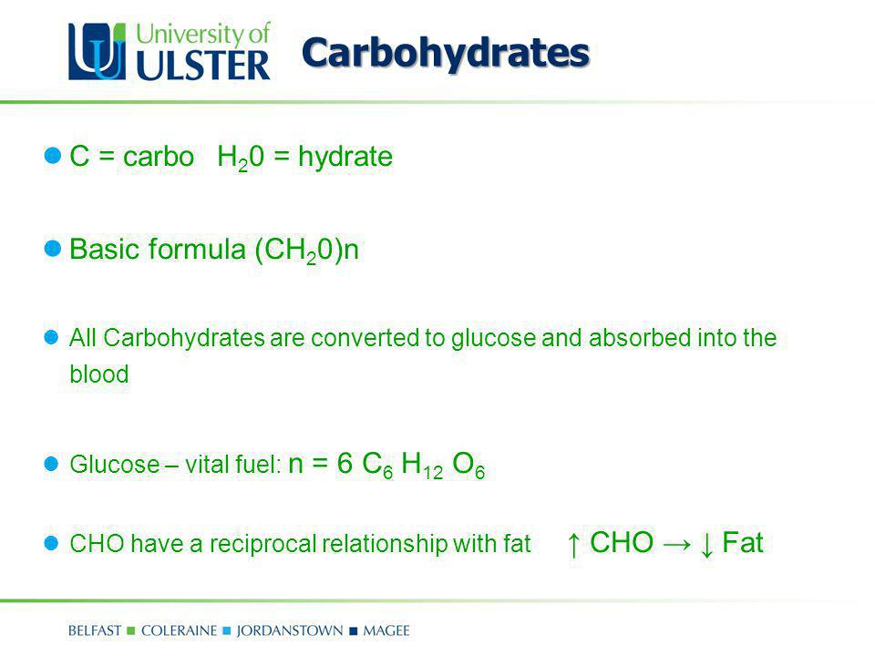 Carbohydrates C = carbo H20 = hydrate Basic formula (CH20)n