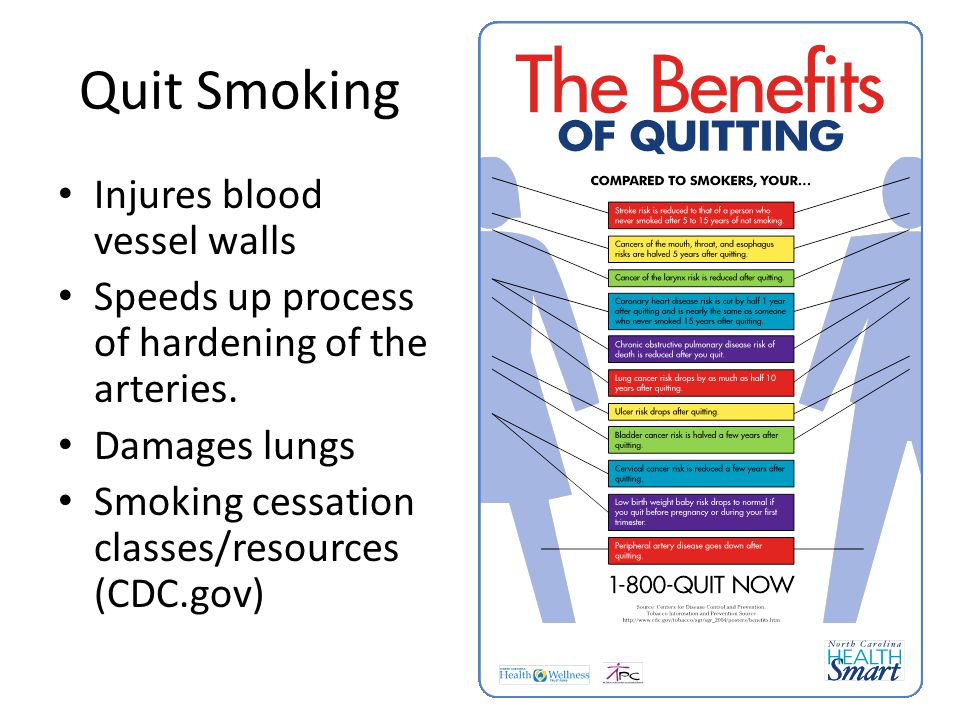 Quit Smoking Injures blood vessel walls