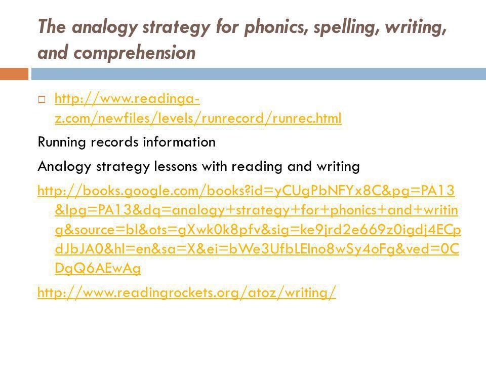 The analogy strategy for phonics, spelling, writing, and comprehension