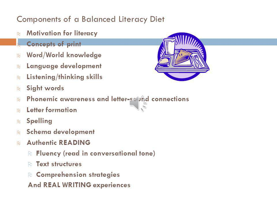 Components of a Balanced Literacy Diet