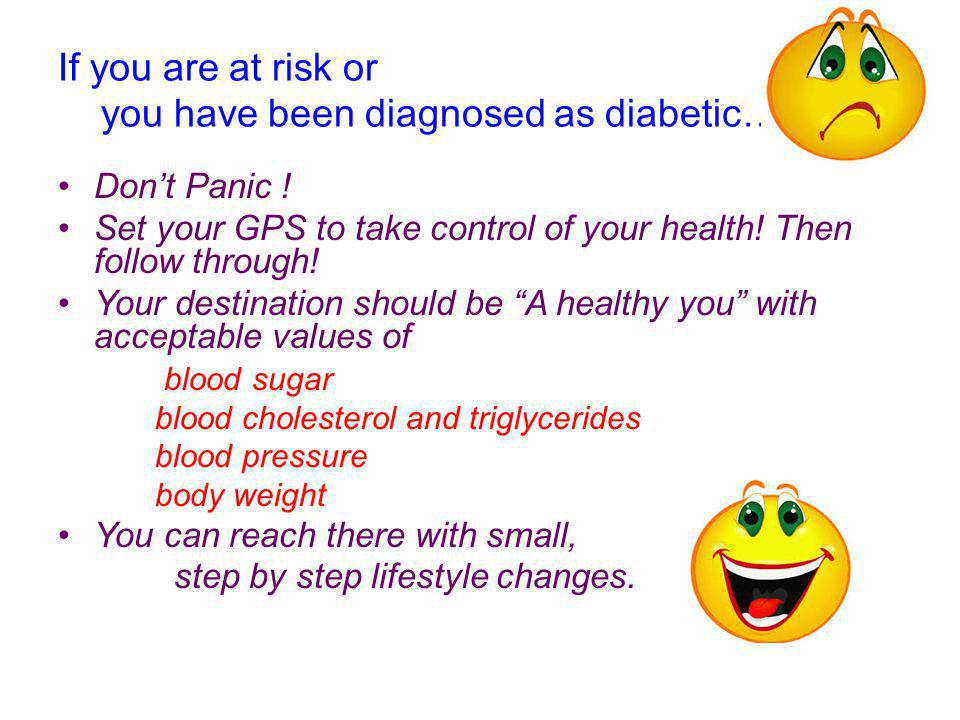 If you are at risk or you have been diagnosed as diabetic…….