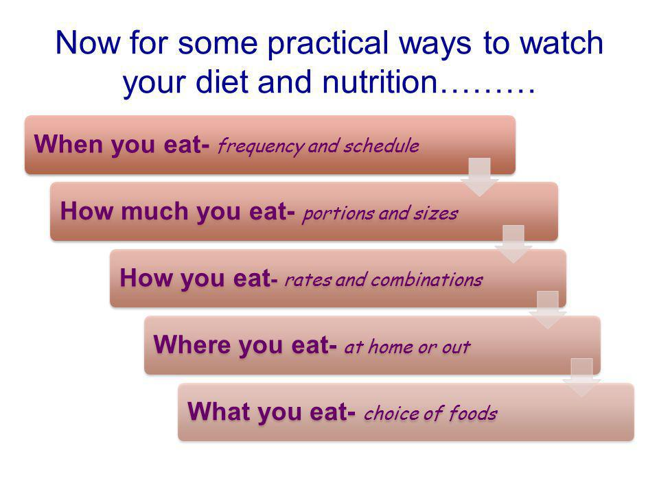 Now for some practical ways to watch your diet and nutrition………