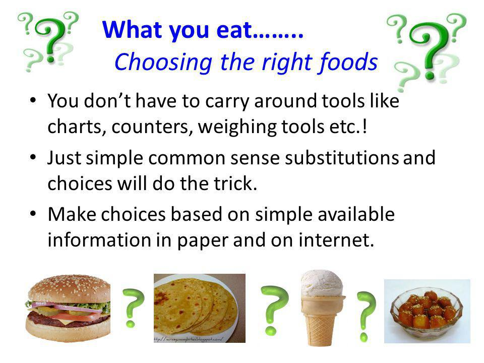 What you eat…….. Choosing the right foods