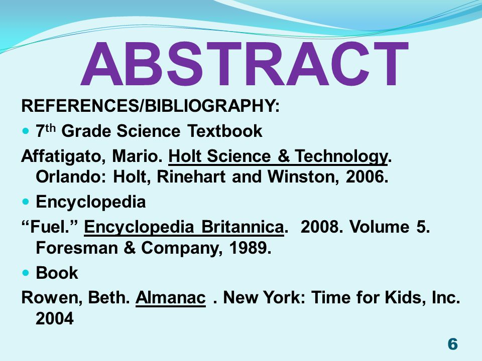 ABSTRACT References/Bibliography: 7th Grade Science Textbook