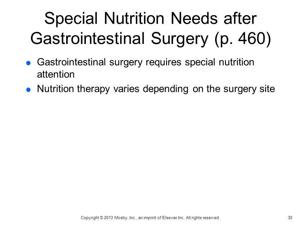 Special Nutrition Needs after Gastrointestinal Surgery (p. 460)