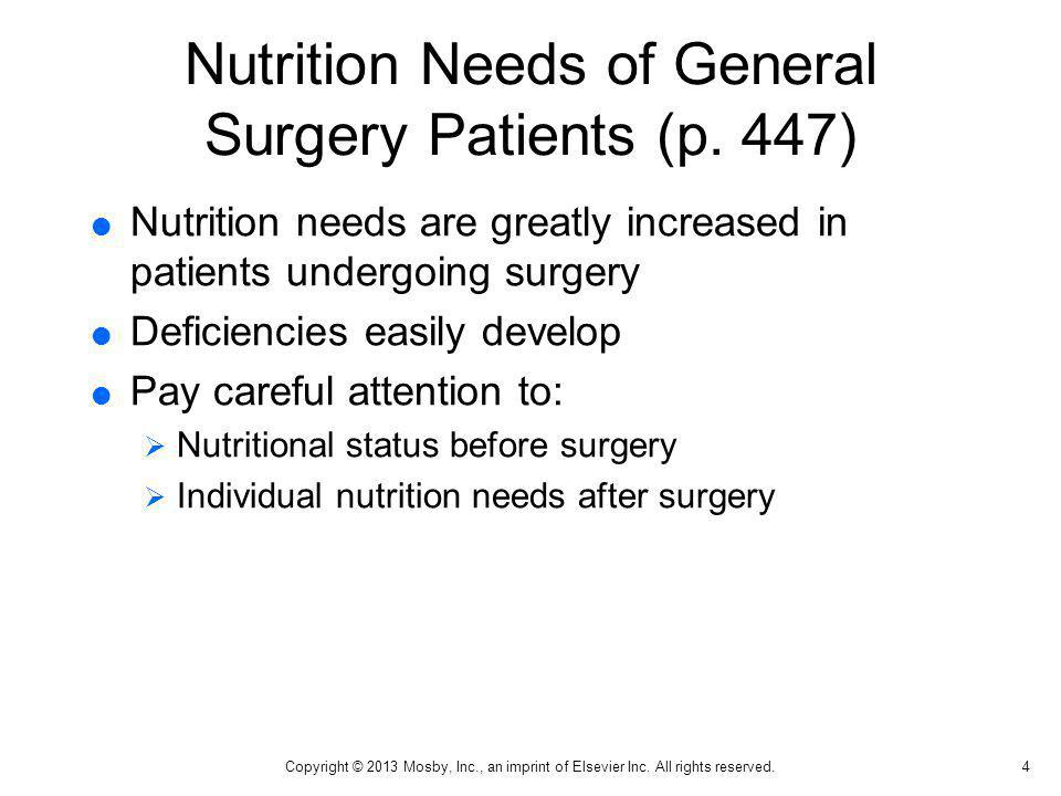 Nutrition Needs of General Surgery Patients (p. 447)