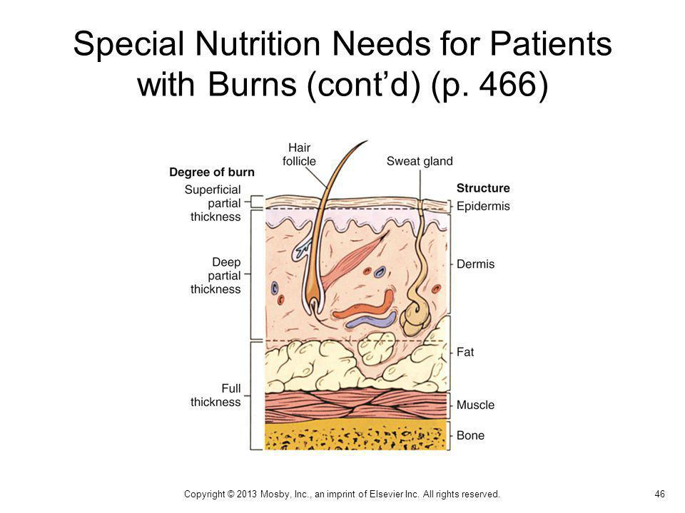 Special Nutrition Needs for Patients with Burns (cont'd) (p. 466)