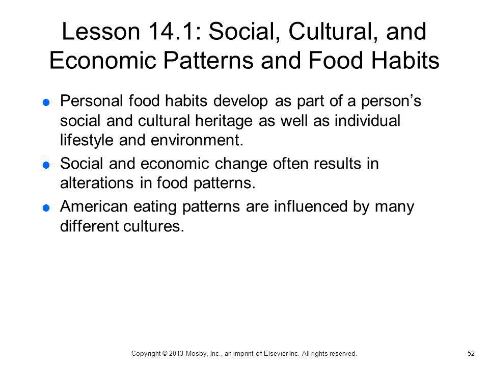 Lesson 14.1: Social, Cultural, and Economic Patterns and Food Habits