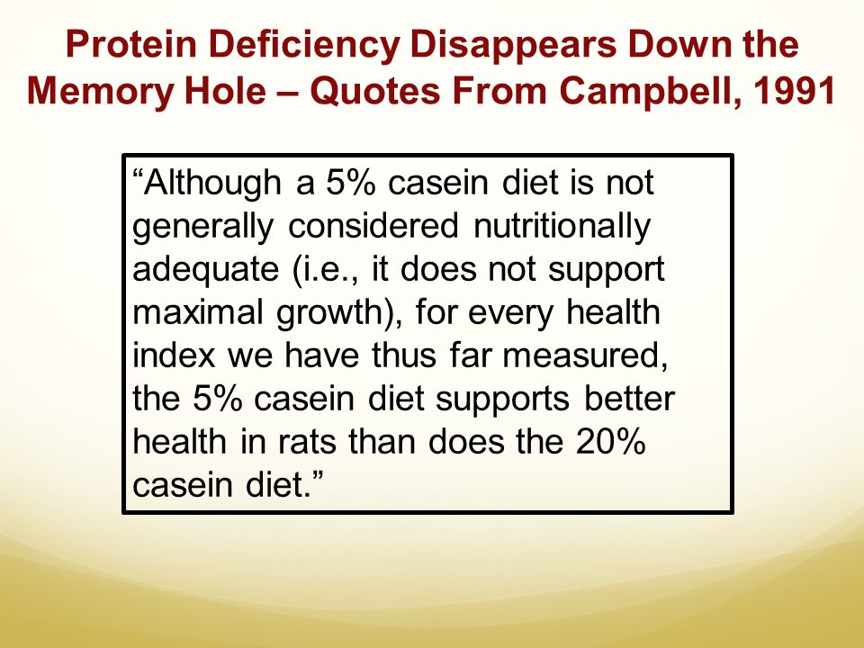 Protein Deficiency Disappears Down the Memory Hole – Quotes From Campbell, 1991