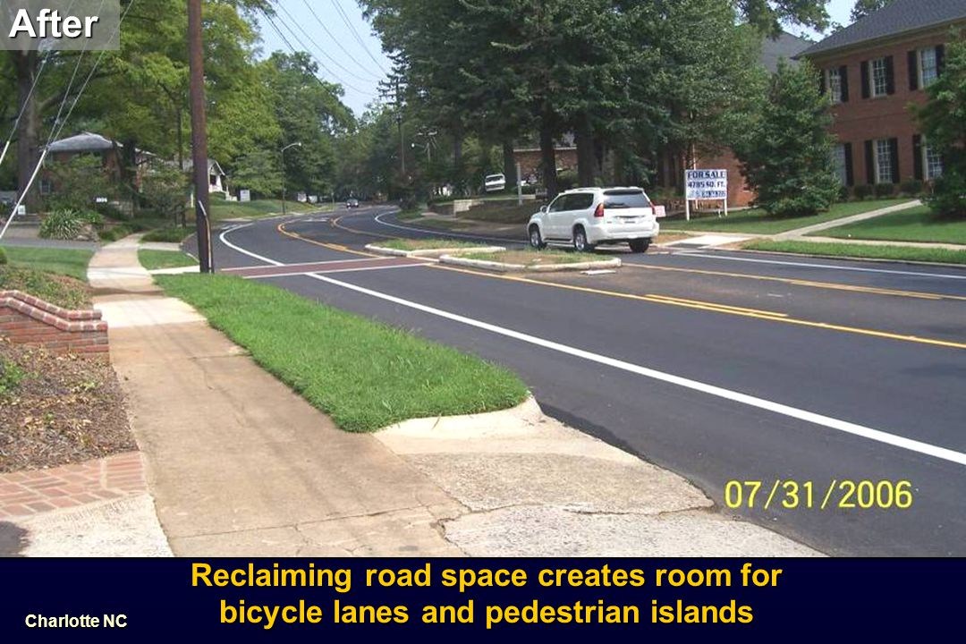 After Before. Reclaiming road space creates room for bicycle lanes and pedestrian islands.