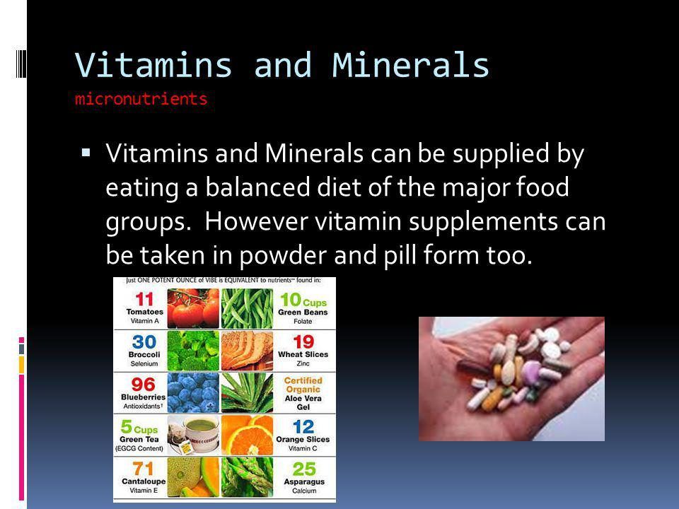 Vitamins and Minerals micronutrients