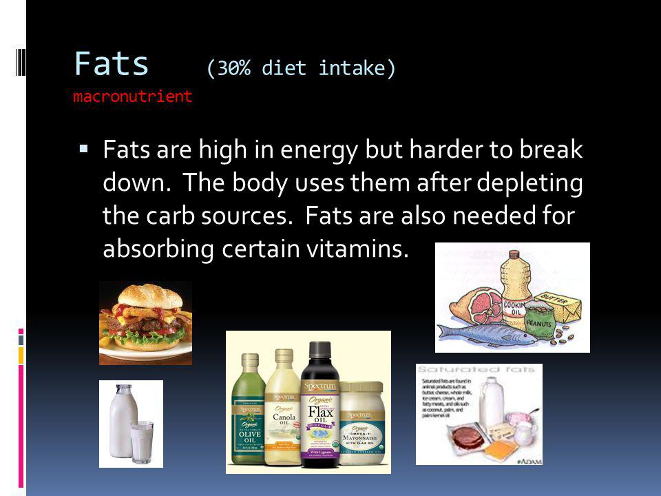 Fats (30% diet intake) macronutrient