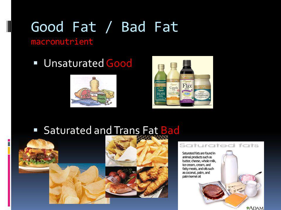 Good Fat / Bad Fat macronutrient