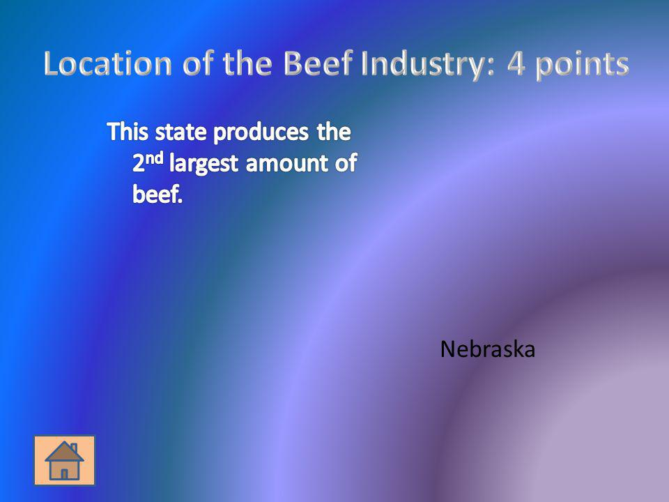 Location of the Beef Industry: 4 points