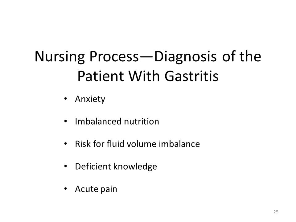 Nursing Process—Diagnosis of the Patient With Gastritis