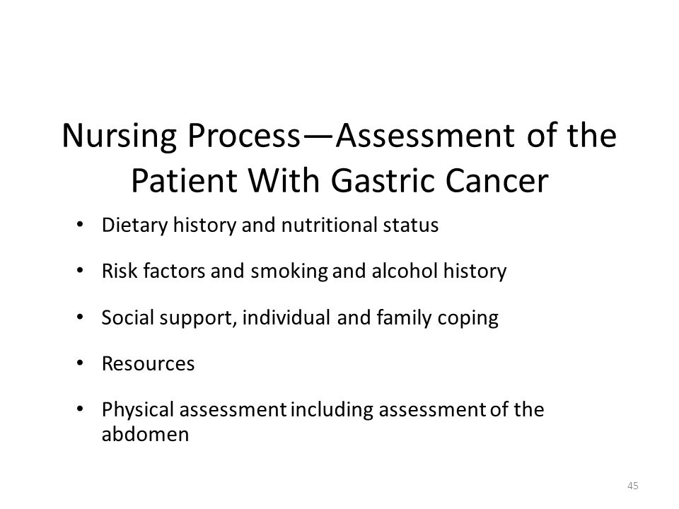 Nursing Process—Assessment of the Patient With Gastric Cancer