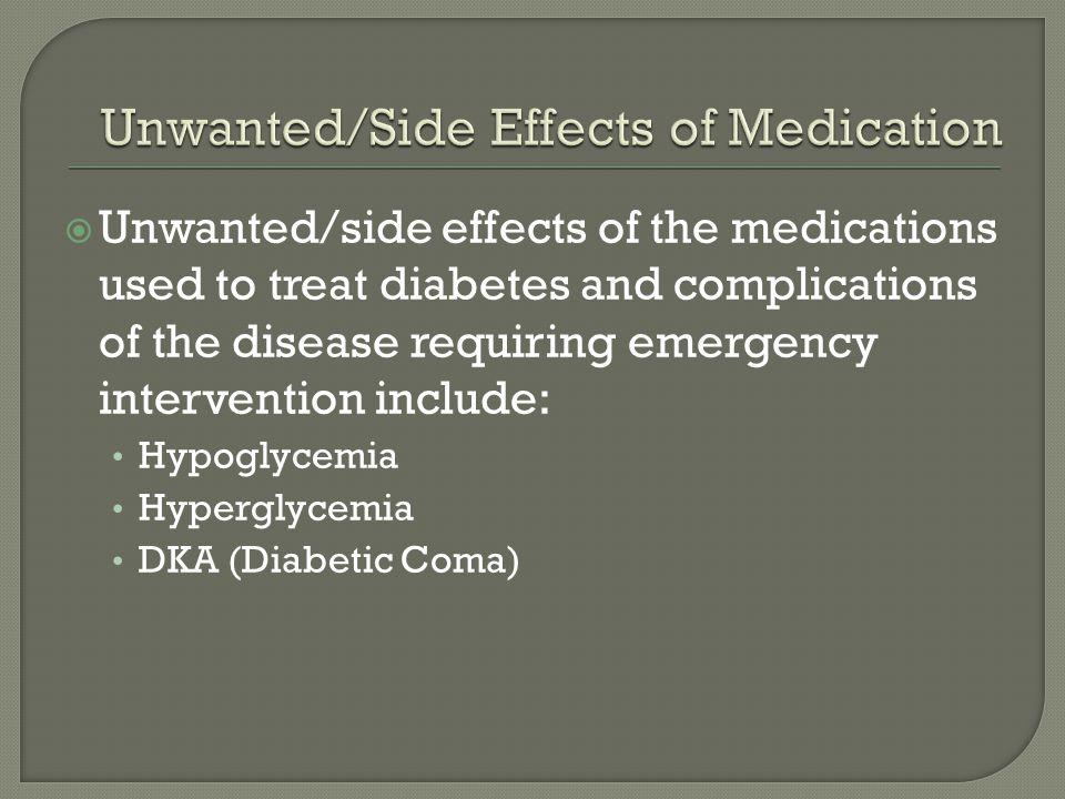 Unwanted/Side Effects of Medication