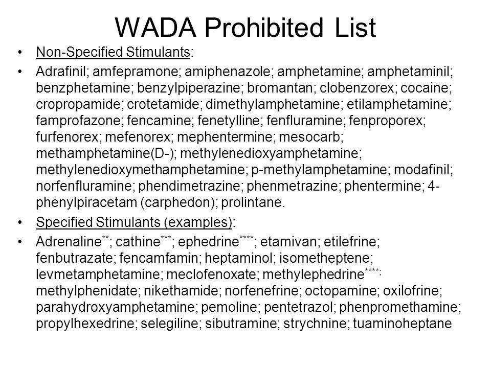 WADA Prohibited List Non-Specified Stimulants: