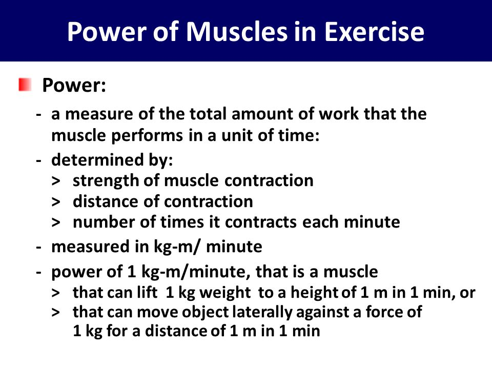 Power of Muscles in Exercise