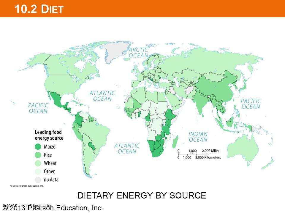 10.2 Diet DIETARY ENERGY BY SOURCE © 2013 Pearson Education, Inc.