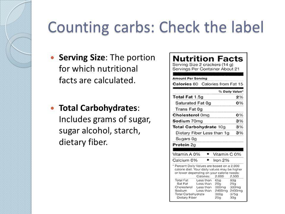 Counting carbs: Check the label