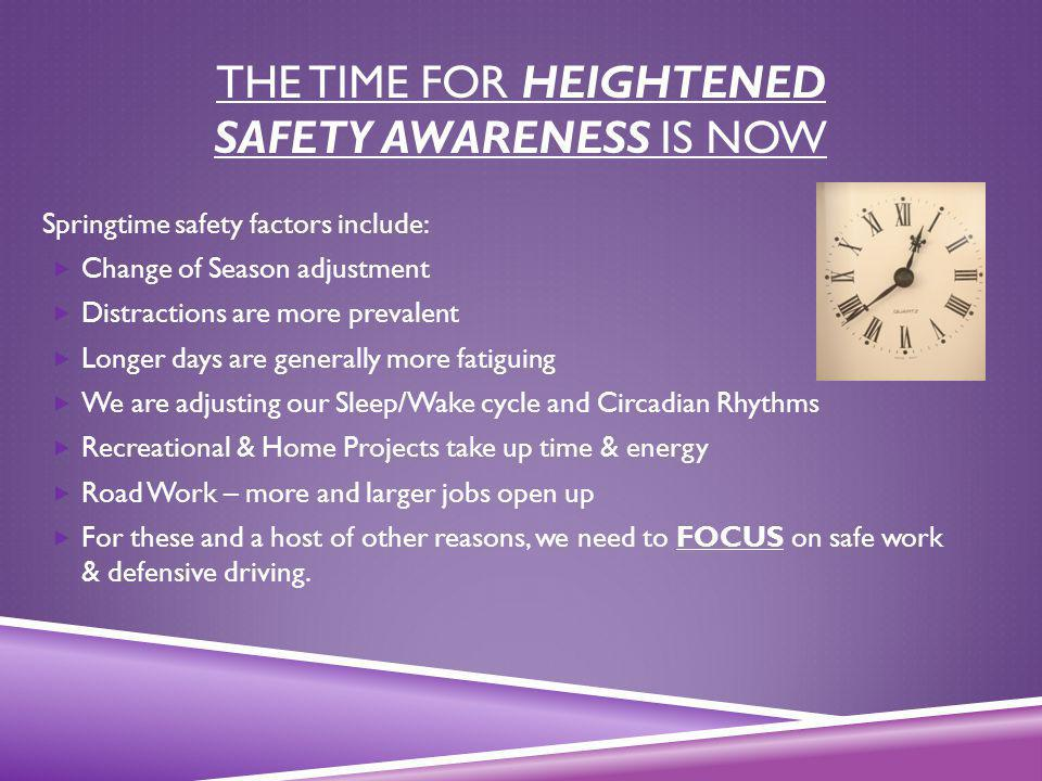 The Time for Heightened Safety Awareness is NOW