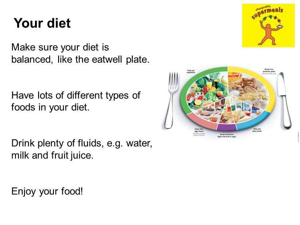 Your diet Make sure your diet is balanced, like the eatwell plate.