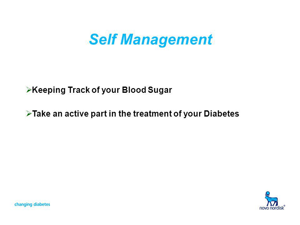 Self Management Keeping Track of your Blood Sugar