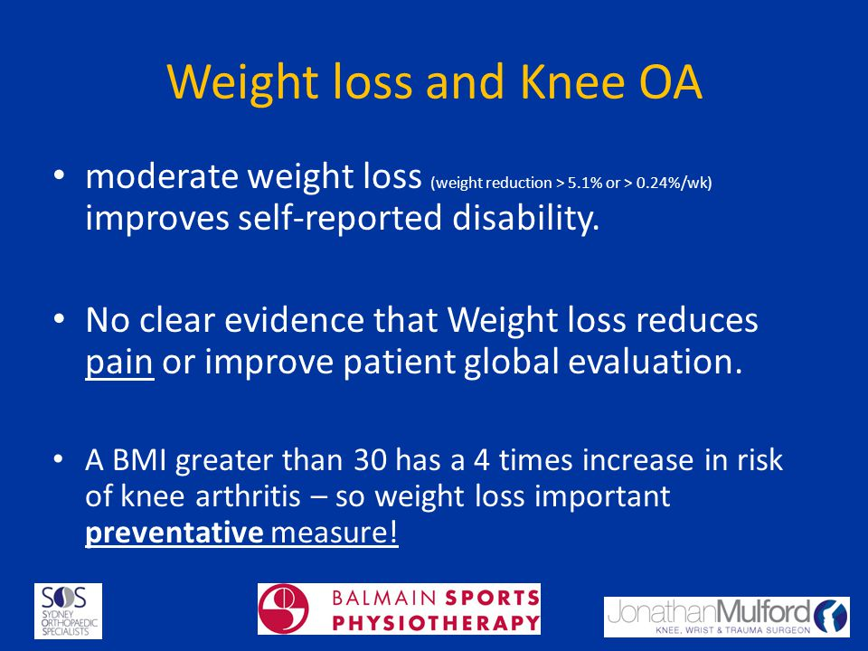 Weight loss and Knee OA moderate weight loss (weight reduction > 5.1% or > 0.24%/wk) improves self-reported disability.