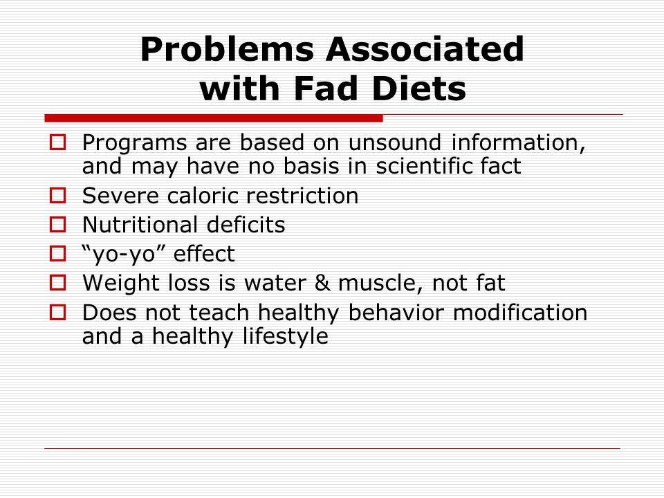 Problems Associated with Fad Diets