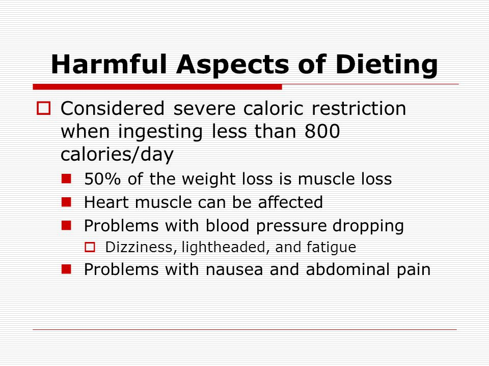 Harmful Aspects of Dieting