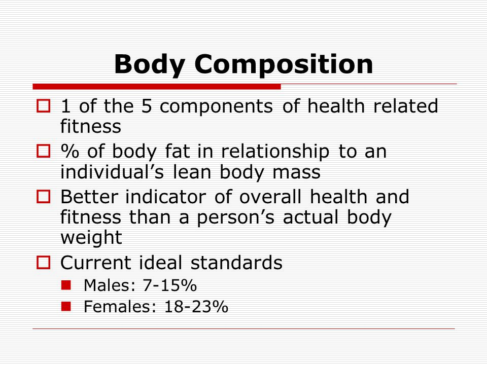 Body Composition 1 of the 5 components of health related fitness