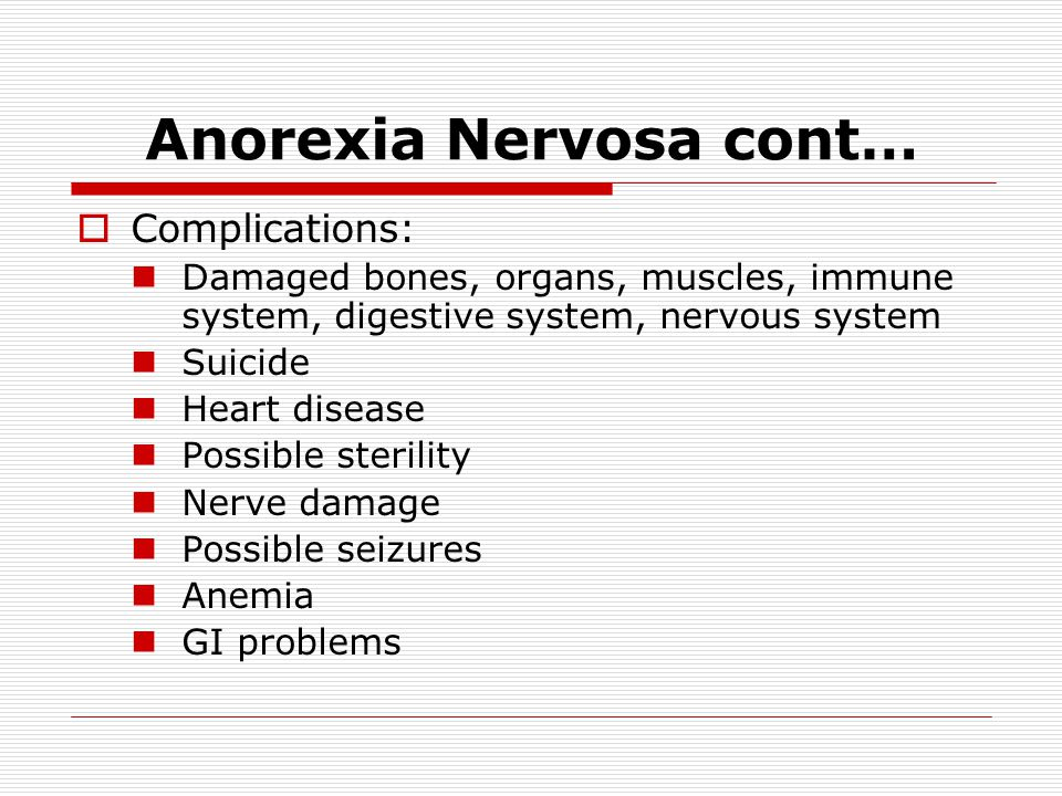 Anorexia Nervosa cont…